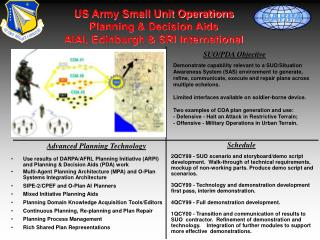 US Army Small Unit Operations Planning & Decision Aids AIAI, Edinburgh & SRI International