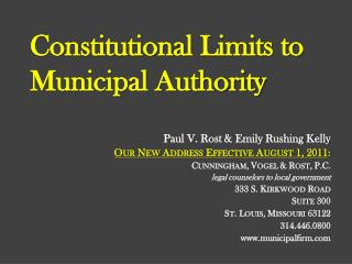 Constitutional  Limits to Municipal Authority
