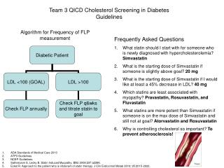 Team 3 QICD Cholesterol Screening in Diabetes Guidelines