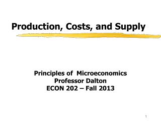 Production, Costs, and Supply