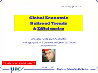 Global Economic  Railroad  Trends &  Efficiencies