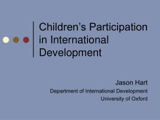 Children's Participation in International Development