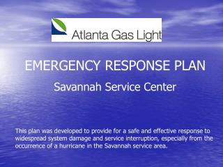 EMERGENCY RESPONSE PLAN Savannah Service Center