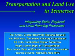 Transportation and Land Use in Tennessee