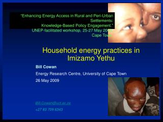 Enhancing Energy Access in Rural and Peri-Urban Settlements:  Knowledge-Based Policy Engagement.   UNEP-facilitated wor