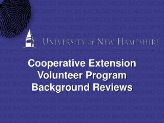 Cooperative Extension Volunteer Program Background Reviews