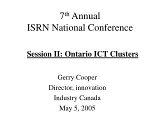 7th Annual  ISRN National Conference