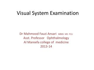 Visual System Examination