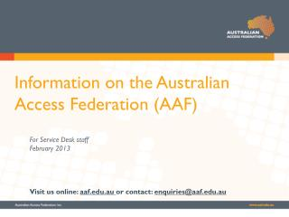 Information on the Australian Access Federation (AAF)