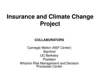 Insurance and Climate Change Project