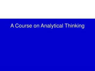 A Course on Analytical Thinking