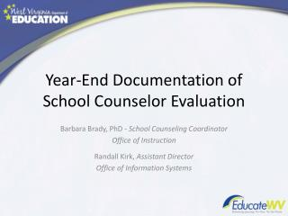 Year-End Documentation of School Counselor Evaluation