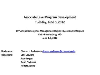 Associate  Level Program Development Tuesday, June 5,  2012