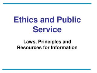 Ethics and Public Service