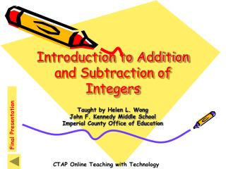 Introduction to Addition and Subtraction of Integers