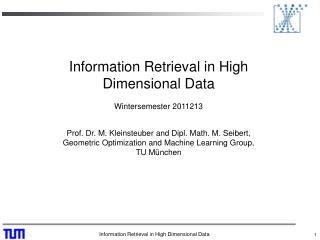 Information Retrieval in High Dimensional Data  Wintersemester 2011213