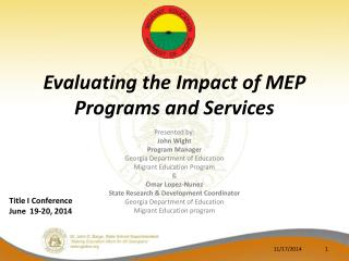 Evaluating the Impact of MEP Programs and Services