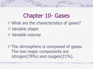 Chapter 10- Gases