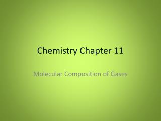 Chemistry Chapter 11