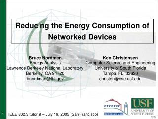Reducing the Energy Consumption of Networked Devices