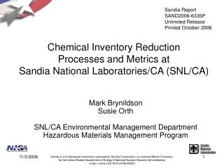 Chemical Inventory Reduction  Processes and Metrics at  Sandia National Laboratories/CA (SNL/CA)