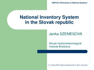 National Inventory System  in the Slovak republic