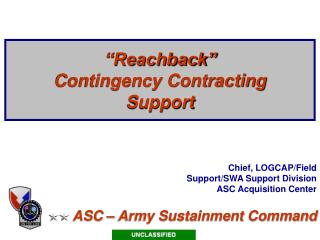 """""""Reachback"""" Contingency Contracting Support"""