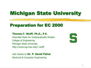 Michigan State University Preparation for EC 2000