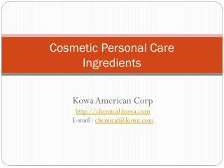 Cosmetic Personal Care Ingredients