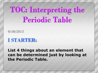 TOC: Interpreting the Periodic Table
