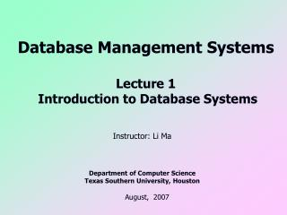 Database Management Systems Lecture 1  Introduction to Database Systems