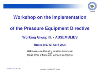 Workshop on the Implementation of the Pressure Equipment Directive