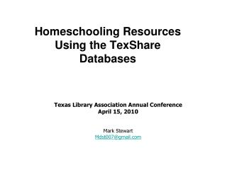 Homeschooling Resources  Using the TexShare  Databases