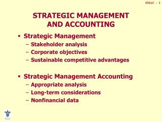 STRATEGIC MANAGEMENT  AND ACCOUNTING