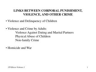LINKS BETWEEN CORPORAL PUNISHMENT, VIOLENCE, AND OTHER CRIME