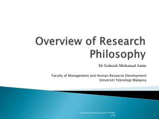 Overview of Research Philosophy
