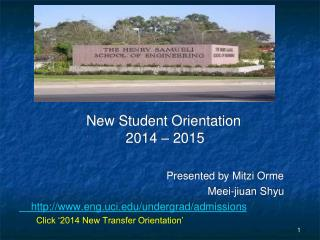 New Student Orientation                            2014 – 2015