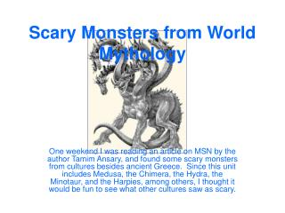 Scary Monsters from World Mythology