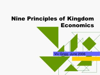 Nine Principles of Kingdom Economics