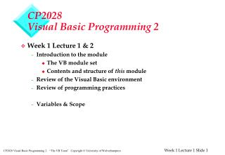 CP2028 Visual Basic Programming 2