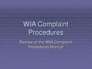 WIA Complaint Procedures