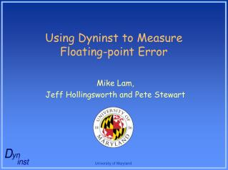 Using Dyninst to Measure  Floating-point Error