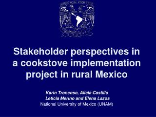 Stakeholder perspectives in a cookstove implementation project in rural Mexico