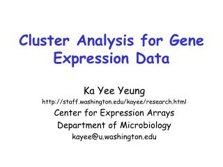 Cluster Analysis for Gene Expression Data