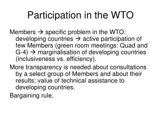 Participation in the WTO