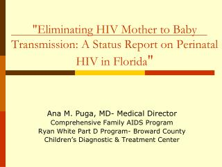 """Eliminating HIV Mother to Baby Transmission: A Status Report on Perinatal HIV in Florida """