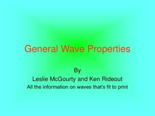General Wave Properties