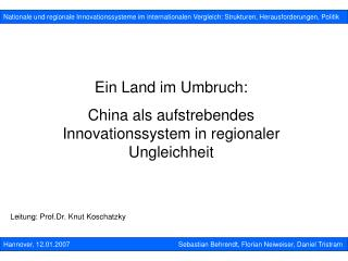 Nationale und regionale Innovationssysteme im internationalen Vergleich: Strukturen, Herausforderungen, Politik