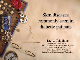 Skin diseases commonly seen in diabetic patients