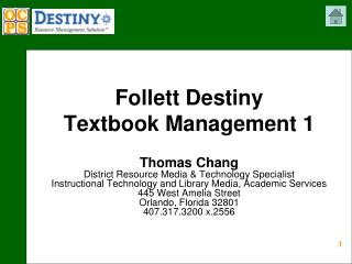 Follett Destiny  Textbook Management 1